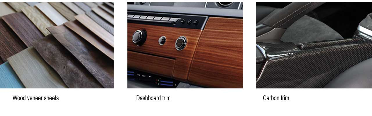 designls ltd wood veneer & carbon trim services image collage left wood veneer sheep selection centre dashboard instrument and switch panel finished in mahogany  wood left porsche 911 997 centre console laminated in hight gloss carbon fibre (fibre) surrey, london, uk